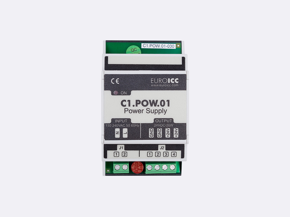 PLC Controller for Guest Room Management System, Smart Hotel Control and Home Automation - BACnet programmable functional controller BACnet PLC – C1.POW.01 power supply module is designed to convert electric power from the public home/indoor electric grid to voltage-stabilized DC power which is necessary for stable operation of devices from C series of EuroICC home automation controlers