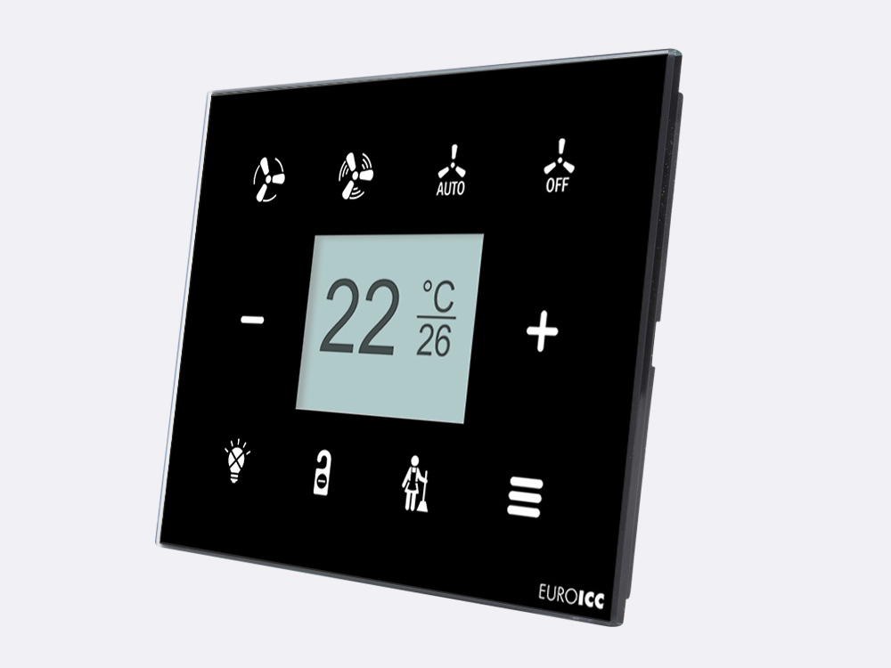 Smart Programmable Intelligent wall touch panel for Guest Room Management System, Smart Hotel Control, Home Automation and Building Automation - RD.RDA.01 - Customizable Intelligent Room Thermostat designed for wide range of Building Automation and Guest Room Management System tasks