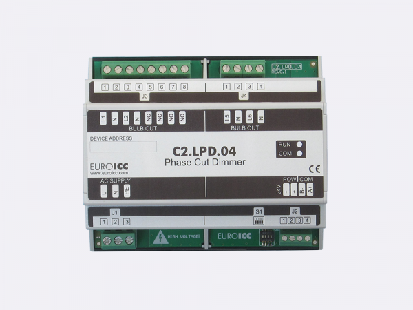 PLC Controller for Guest Room Management System, Smart Hotel Control and Home Automation - BACnet programmable functional controller BACnet PLC - Lighting Phase Cut Dimmer C2.LPD.04 is a programmable and configurable Leading or Trailing edge phase cut dimmer designed for wide range of building automation and guest room management system tasks.Up to 4 channels phase cut dimmer