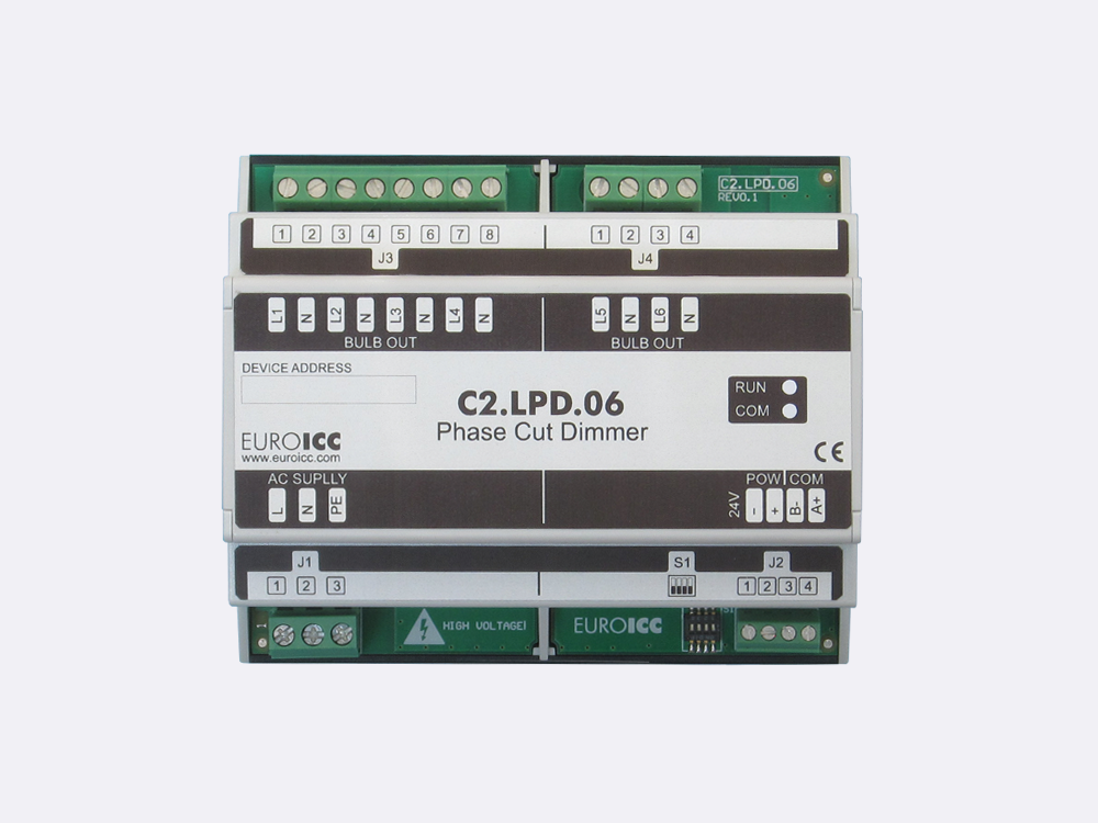 PLC Controller for Guest Room Management System, Smart Hotel Control and Home Automation - BACnet programmable functional controller BACnet PLC - Lighting Phase Cut Dimmer C2.LPD.06 is a programmable and configurable Leading or Trailing edge phase cut dimmer designed for wide range of building automation and guest room management system tasks. Up to 6 channels phase cut dimmer